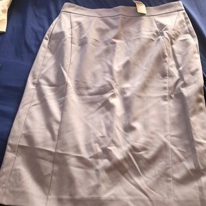 Grey pencil skirt with zipper and clips in back